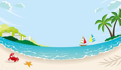 夏の浜辺のなごむ風景